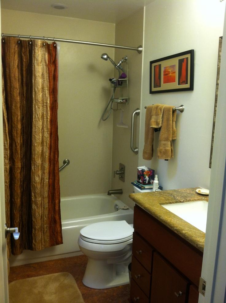 6 Elegant Bathroom Ideas For Compact Spaces: Main Bathroom. Simple, Clean, Strong Colors, Elegant Feel