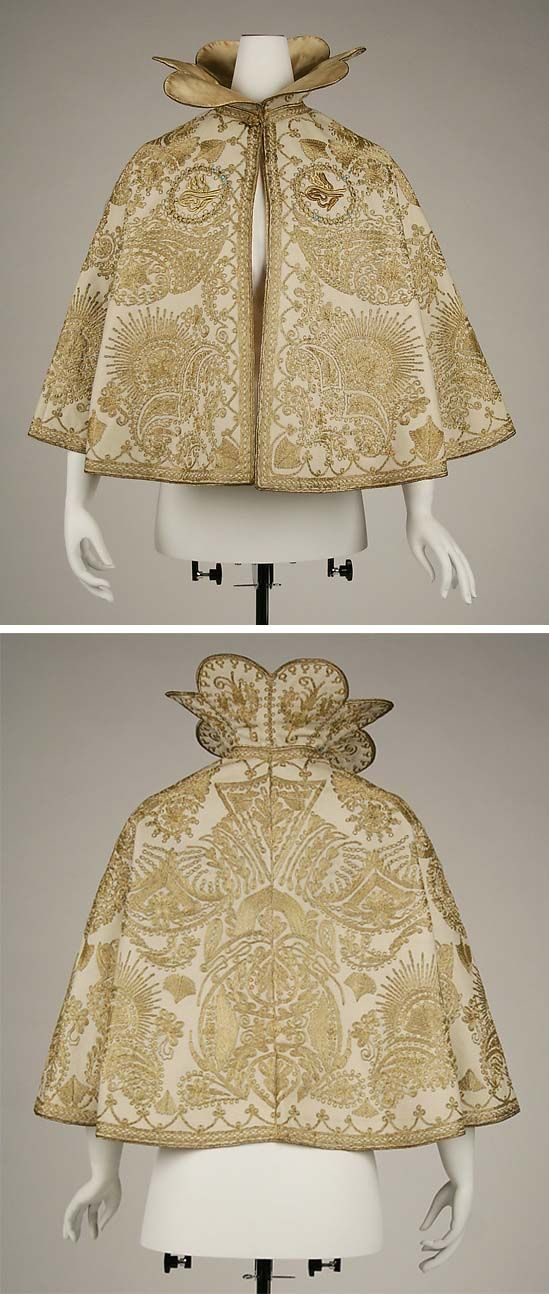 Evening cape, ca. 1900, probably French: wool & silk, metallic embroidery.