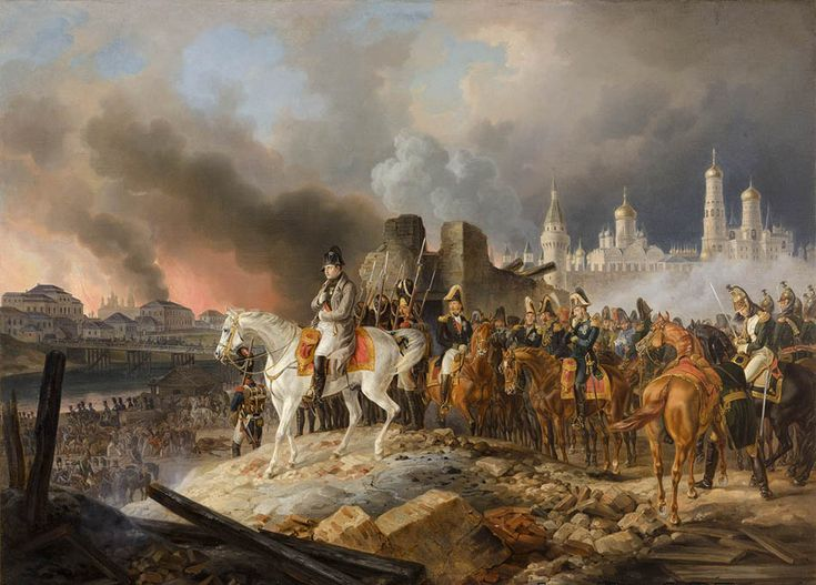 Napoleon and the French army leave a burning Moscow as winter closes in around them. 1812.