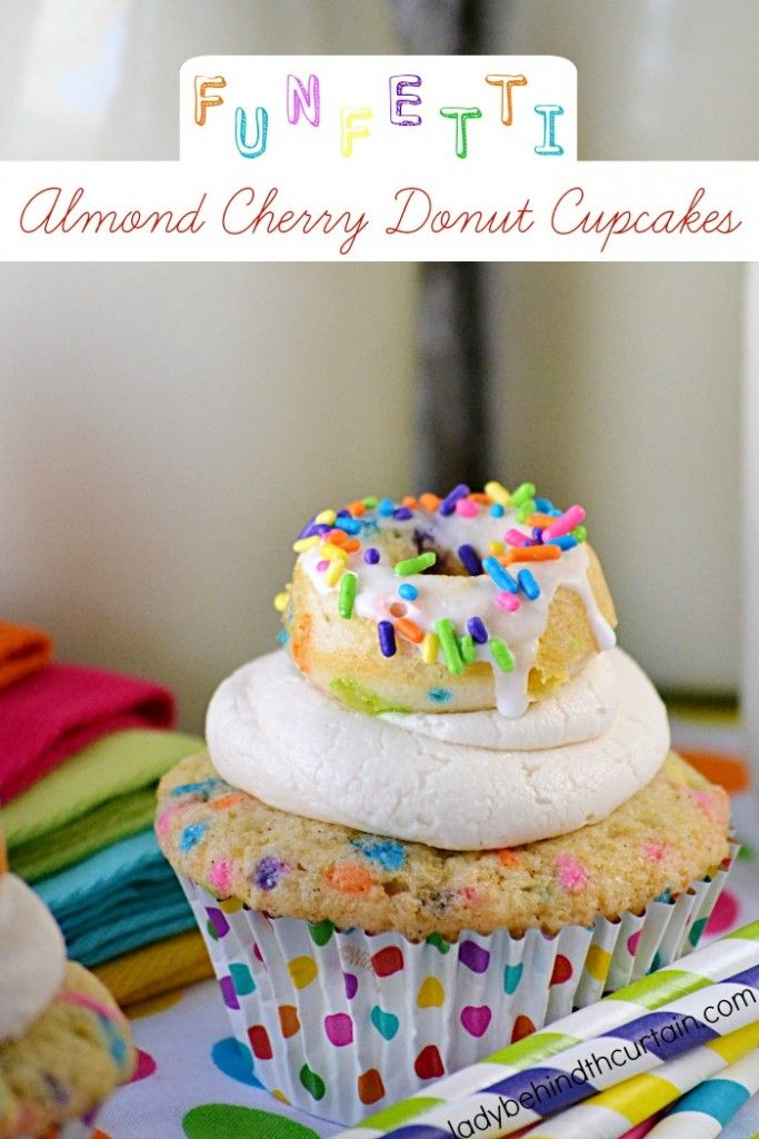These Funfetti Almond Cherry Donut Cupcakes are just as cute as can be. As if funfetti wasn't fun enough, I also adding a cute mini cherry flavored donut o