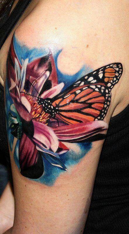 Tattoo Butterfly On Flower Daisy