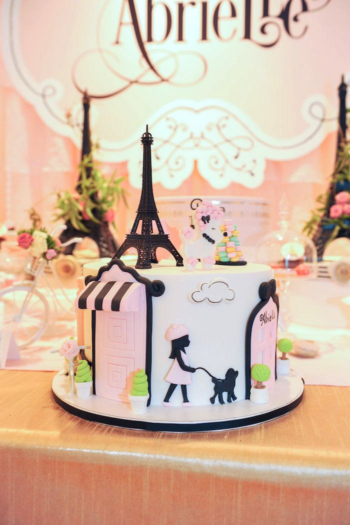 Gorgeous birthday cake in black, white, and pink rom A Day in Paris Birthday Party at Kara's Party Ideas