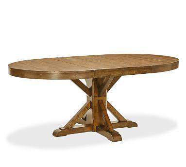 benchwright extending pedestal dining table alfresco brown finish