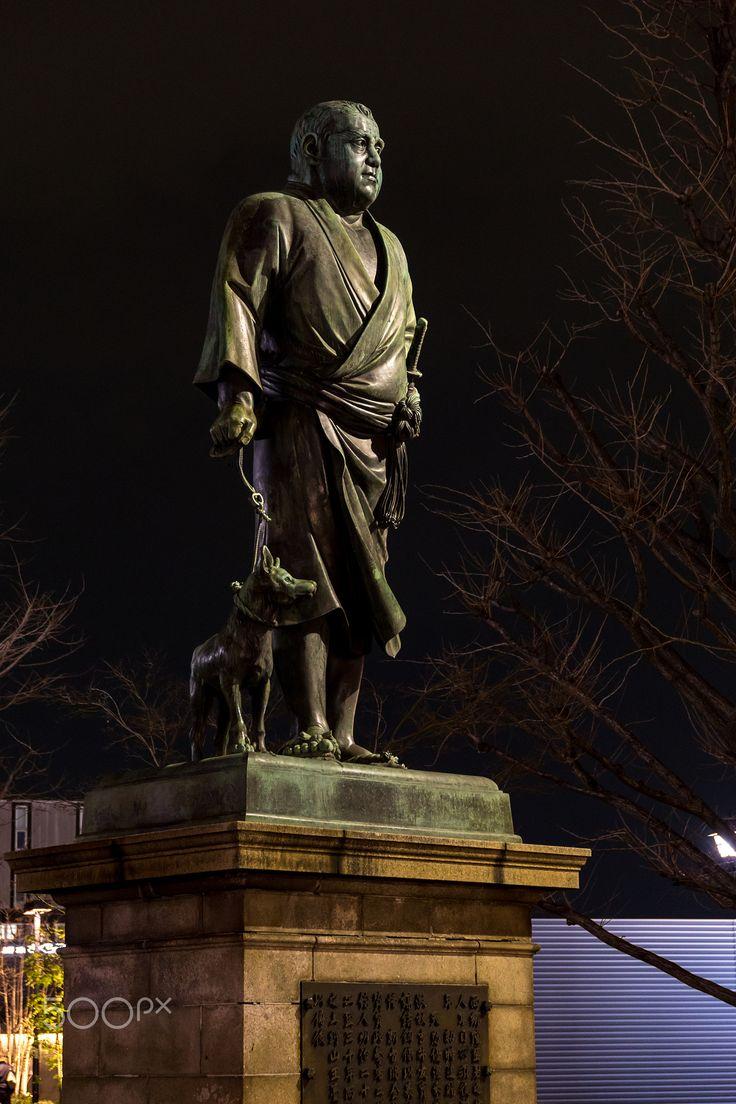 Takamori Saigo in Ueno Park, Tokyo - Sculpture of the last true samurai, Takamori Saigō (西郷 隆盛, 1828-1877) in Ueno Park, Tokyo, Japan Az utolsó igazi szamuráj, Takamori Saigō, hű ebével, Bodrival
