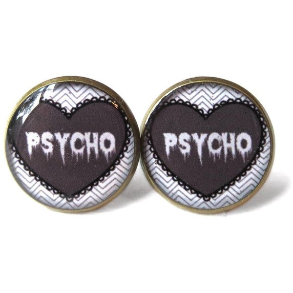 Spooky Cute Black and White Pastel Goth Drippy Psycho Stud Earrings -... ($10) ❤ liked on Polyvore featuring jewelry, earrings, accessories, piercings, plugs, nickel free stud earrings, gothic earrings, grunge jewelry, white and black earrings and clear earrings