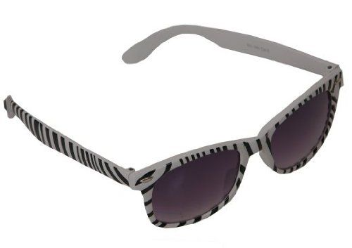 R51 LADIES ZEBRA PATTERN BLACK WHITE WAYFARER SUNGLASSES