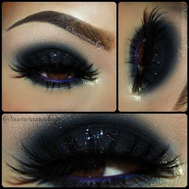 Smoked Navy Blue Shimmery Smokey Eye