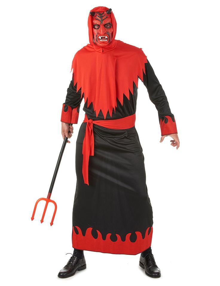 Déguisement diable homme Halloween : Ce déguisement de diable pour homme se compose d'une robe noire à manches longues avec des motifs de flammes rouges aux extrémités, d'unmasque rouge avec...