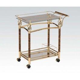 ACMEF98002-Gold Serving Cart W/clr Glas