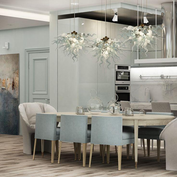 кухня в современном стиле с обеденной зоной