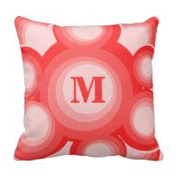 Monogram Red and Pink rings Throw Pillow