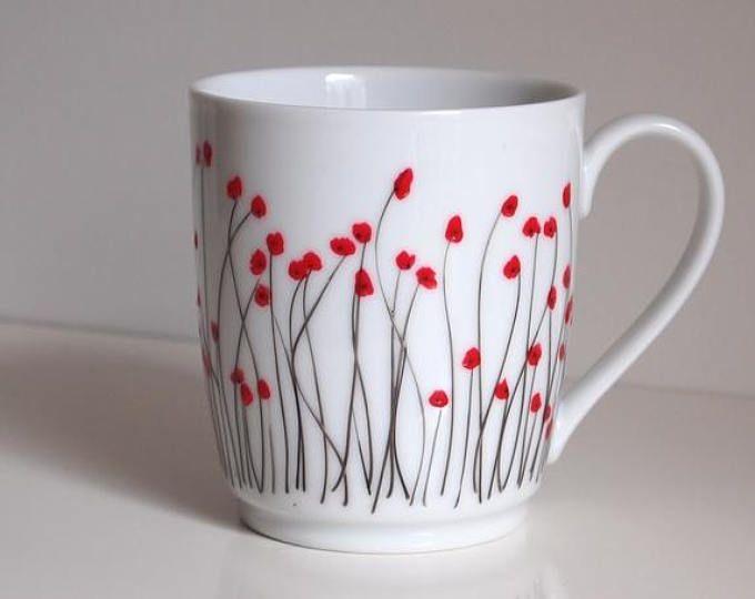 Mohn Porzellanbecher Limoges Tee Tasse Kaffee Becher Geschenk