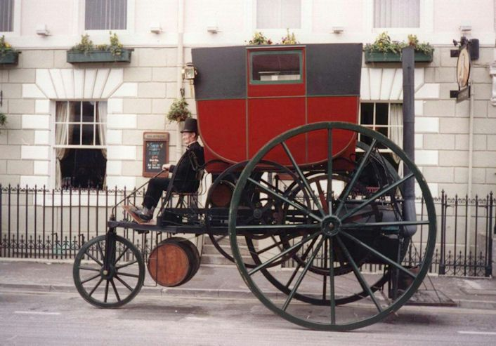 London Steam Carriage seen here on the street's of Cardiff. RICHARD TREVITHICK'S LONDON STEAM CARRIAGE 1803