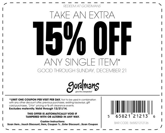 Pinned December 18th: 15% off a single item at #Gordmans #coupon via The #Coupons App