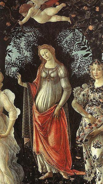 ༺♥༻ Sandro Botticelli - Primavera (detail) - Venus in her arch - c. 1482 - Tempera on panel - Uffizi Gallery, Florence ༺♥༻