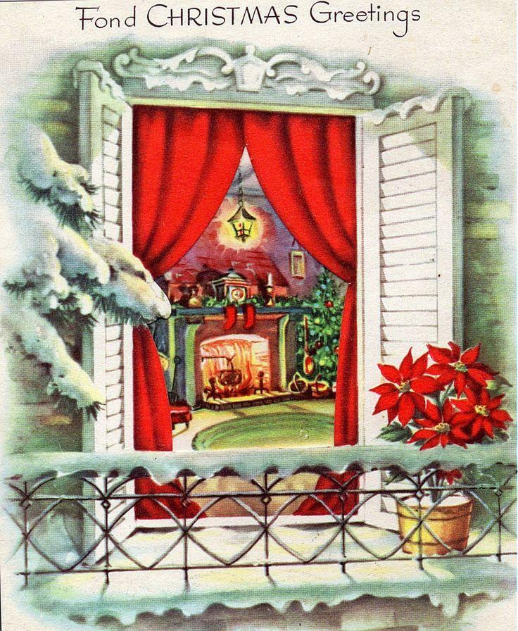 Christmas fireside scene.