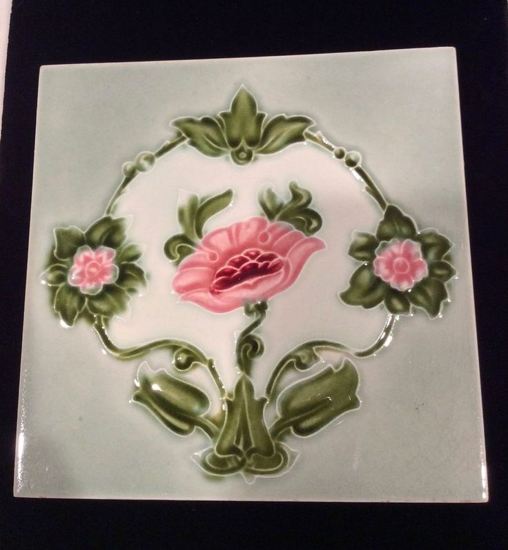 Art Nouveau Tile 3 Pink Roses, Garlands H&R Johnson England #51 | Antiques, Decorative Arts, Ceramics & Porcelain | eBay!