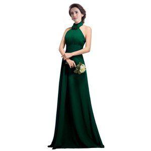 FashionファッションPlazaHalterEmpire-lineRuffleBridesmaidFormalPartyDressD0114(US6,DarkGreenグリーン緑)レディース\ドレス\ウェディングドレス