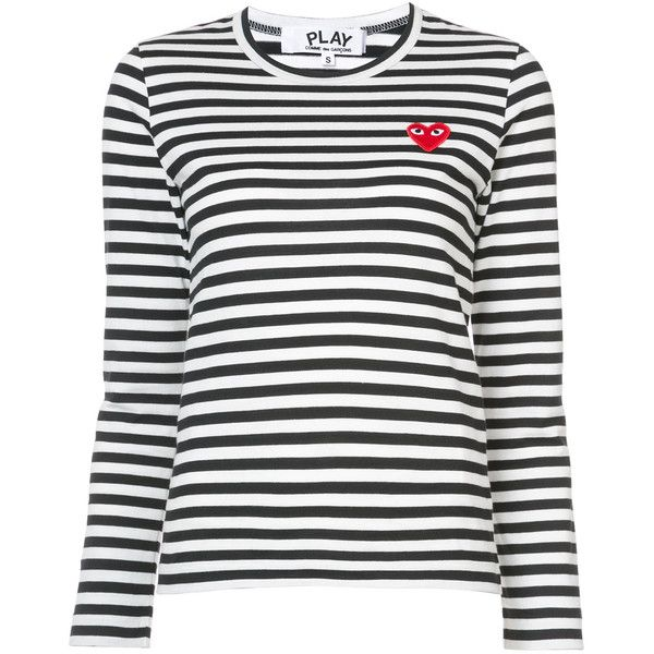 Comme Des Garçons Play striped long sleeved T-shirt (€135) ❤ liked on Polyvore featuring tops, t-shirts, black, long sleeve round neck t shirt, striped t shirt, longsleeve t shirts, striped long sleeve tee and striped long sleeve top