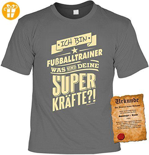 Lustige Sprüche Fun Tshirts - Ich bin FUSSBALLTRAINER und deine SUPERKRÄFTE - mit SPAß-Urkunde (*Partner-Link)