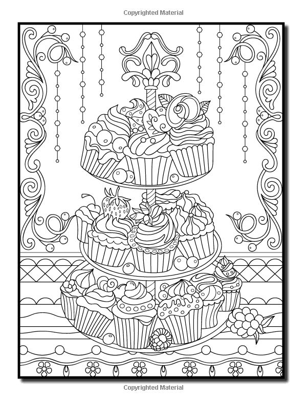 Coloring pages of random designs ~ Amazon.com: Delicious Desserts: An Adult Coloring Book ...