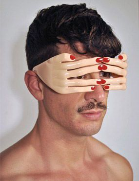 Jeremy Scott Flesh Hands frame BY Georgio   Flesh with red nails acetate frame with no lens