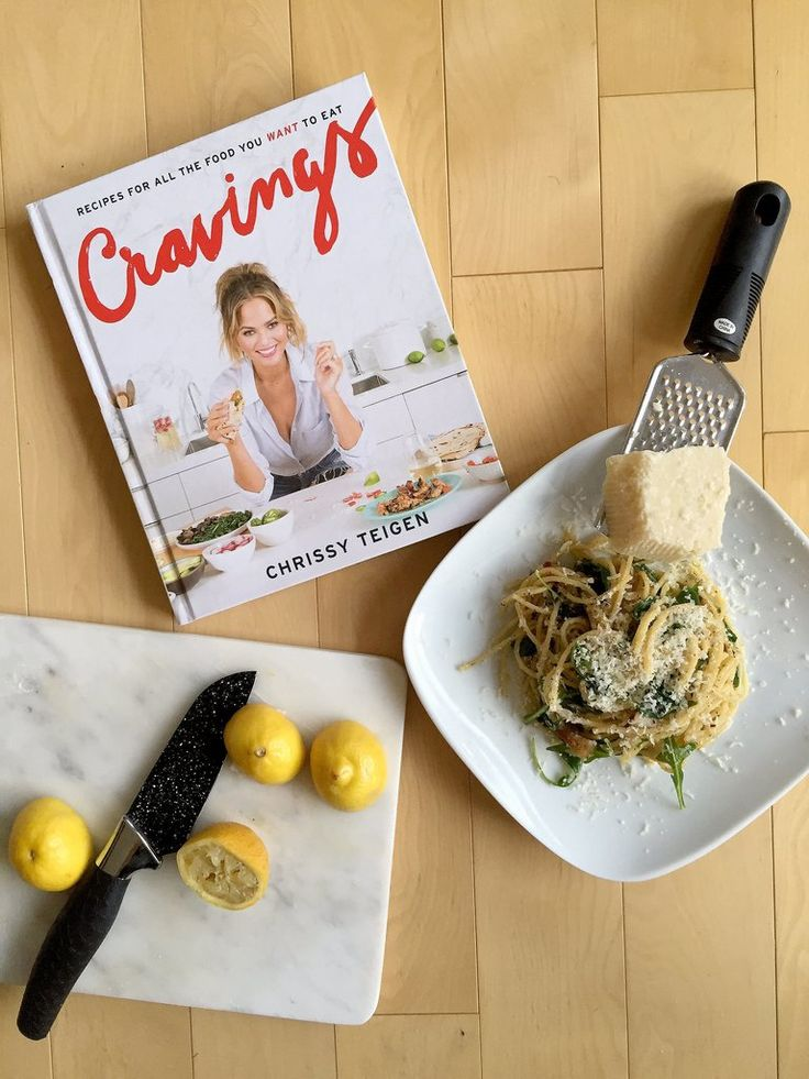 Get the recipe: Chrissy Teigen's lemony arugula spaghetti cacio e pepe Image Source: POPSUGAR Photography /...
