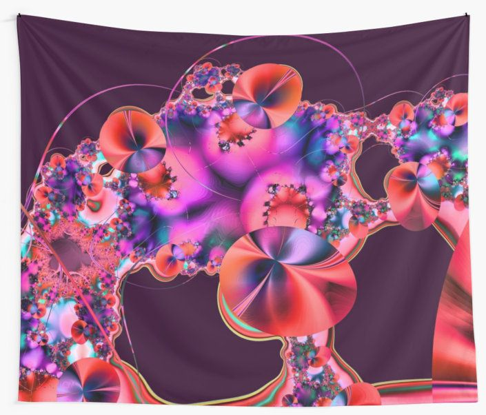 A bright and colourful fractal image that looks like Hibiscus flowers with decorative sprays, flourishes and curved lines.  You may see something else.  This is the red version with a purple background. • Also buy this artwork on home decor, apparel, phone cases, and more.