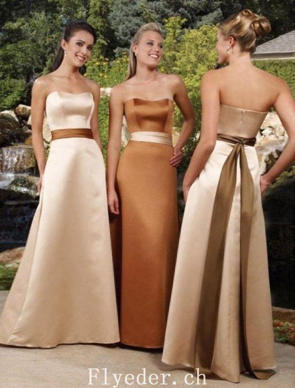 Bridesmaids Dress Elegant Gold Strapless Satin Sash A-line