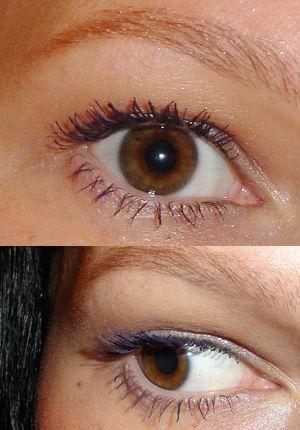 lila Mascara bei braunen Augen