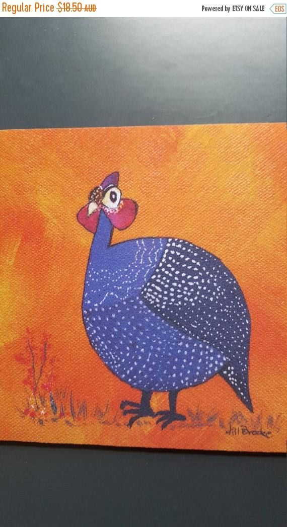 On Sale Gussie the Guinea Fowl mouse pad - Cute and adorable bright purple bird on an orange background by JillBrookeDesigns