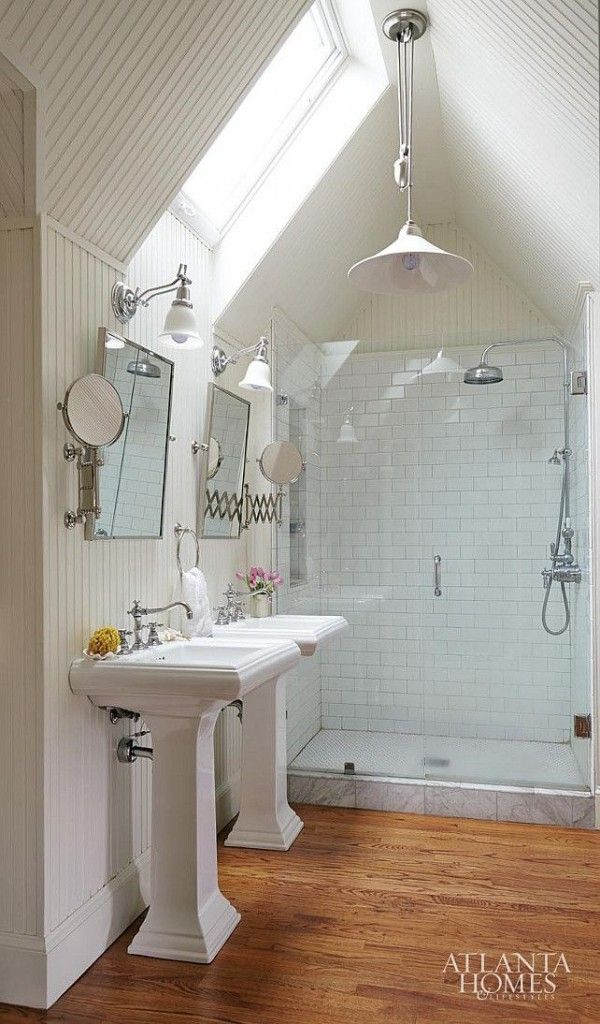 Vaulted ceiling bathroom with pendant light overhead for Small bathroom with sloped ceiling