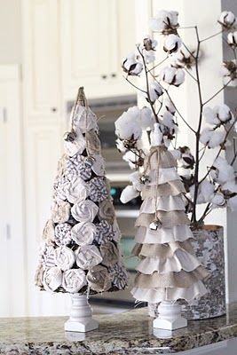 Burlap & Drop Cloth Christmas Trees: Holiday, Burlap Christmas, Burlap Tree, Drop Cloth, Christmas Decor, Ruffle Tree, Christmas Ideas, Christmas Trees