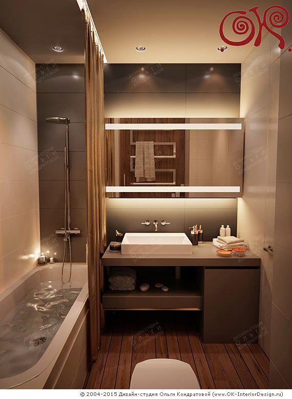 На фото: Дизайн современной ванной комнаты маленького размера Оформление маленьких ванных имеет свои особенности и требует профессионального подхода. Как на небольшой площади создать максимально функциональное, стильное и красивое пространство? Дизайн-проект как основа Прежде, чем браться за пере