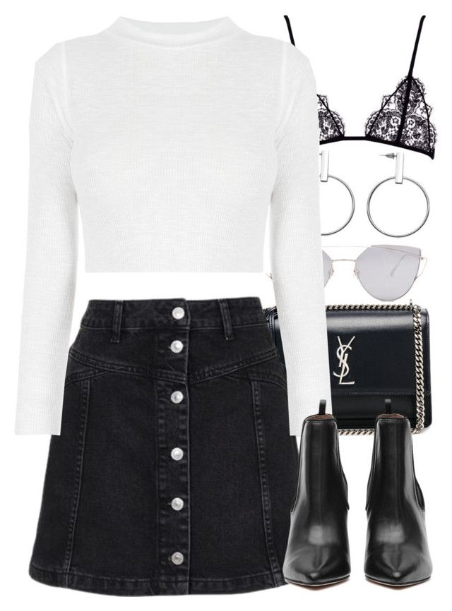 """Untitled #3994"" by amyn99 ❤ liked on Polyvore featuring Yves Saint Laurent, Topshop and Gentle Monster"