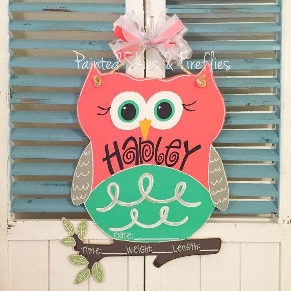 Owl Door Hanger / Hospital Door Hanger / Girl by paintedskyfirefly