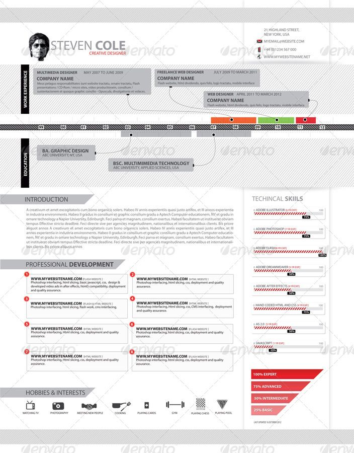 87 best CV images on Pinterest Design resume, Resume design and - hobbies in resume