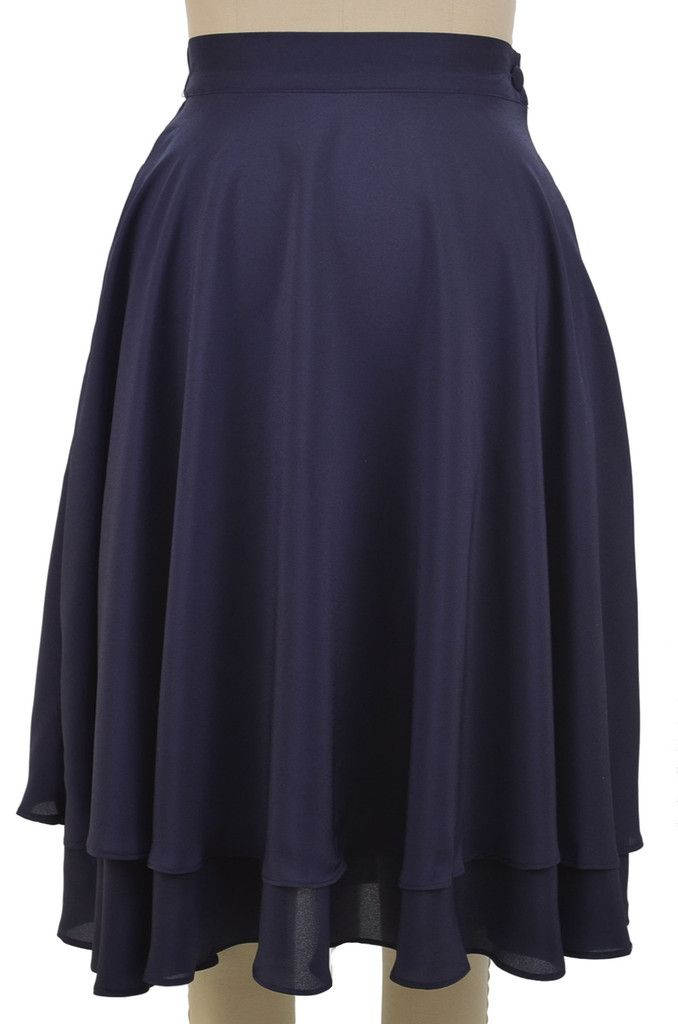 essential elegance double tier circle skirt - navy