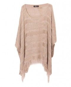 Ethnic Hollow Out Tassel Batwing Sleeves Pullover
