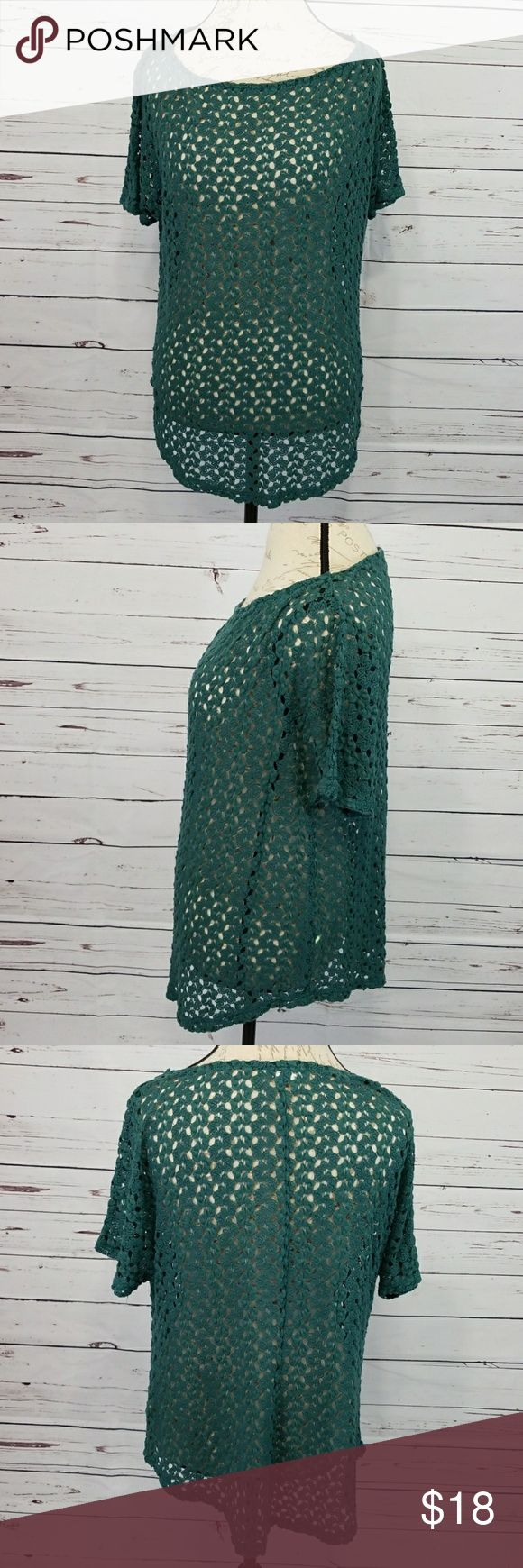 """Staring at Stars teal crochet top EUC Staring at Stars (Urban Outfitters) teal see through crochet short sleeve top. Polyester and rayon blend. Hand wash. Lay flat measurements: 22"""" pit to pit, 24"""" long on sides, 28"""" long front and back. Urban Outfitters Tops Tees - Short Sleeve"""