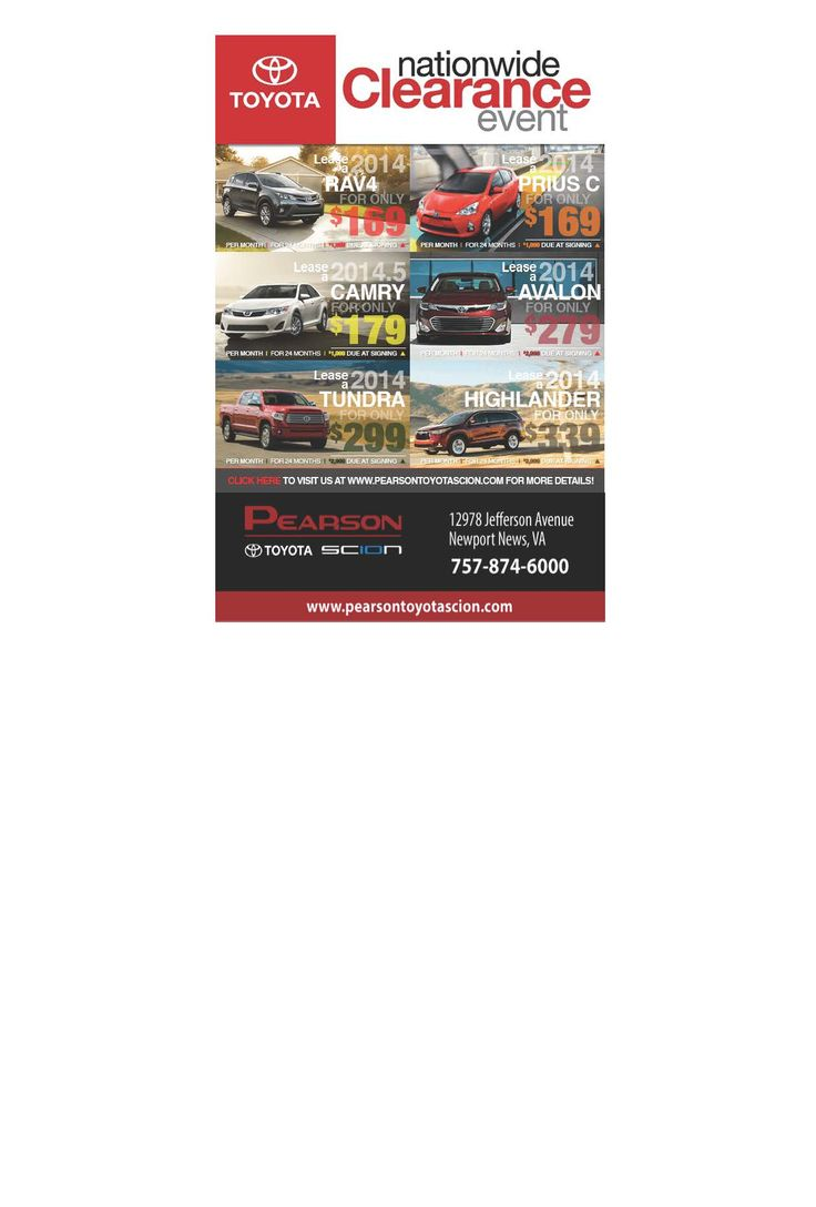 Pearson toyota s nationwide clearance event going on now get a great lease deal on a
