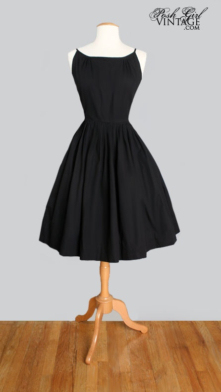 1950's Black Tea Length Cotton Dress  - little black dress!