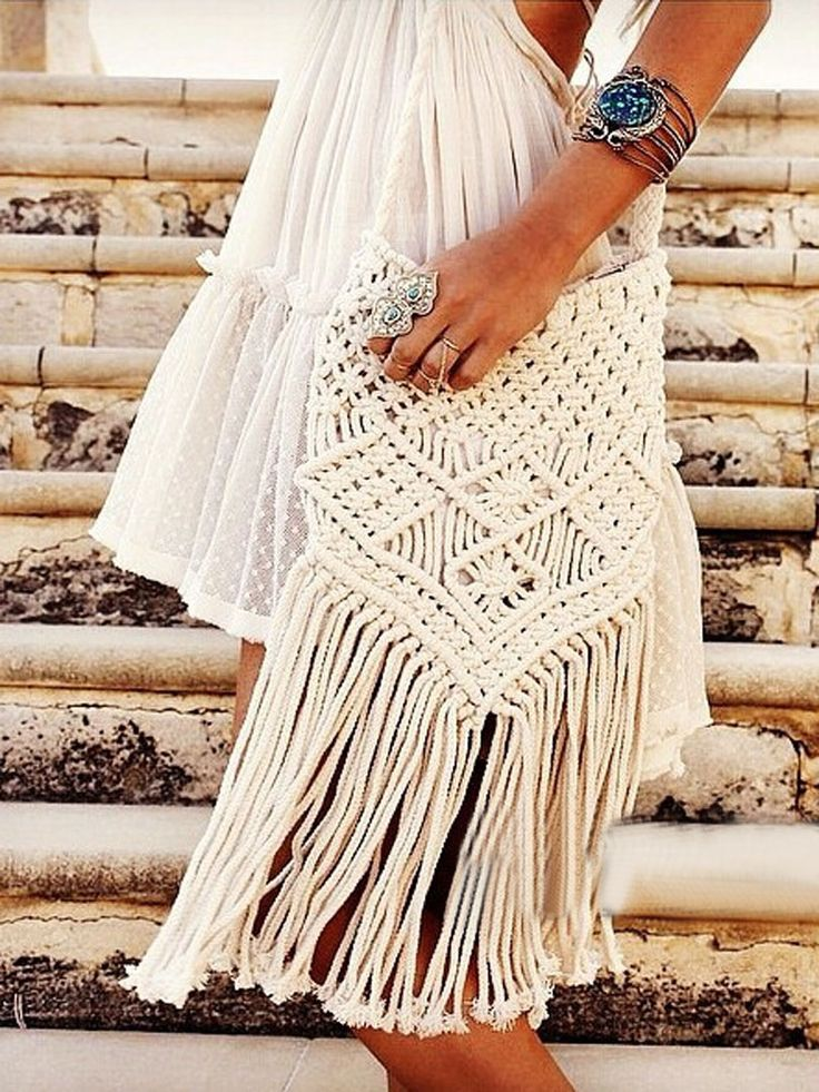 Beige Fringe String Cross Body Bag