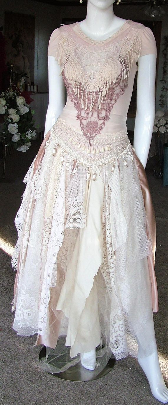 #Bohemian #tattered #wedding dress #belly dancer #one of a kind #event or #wedding dress