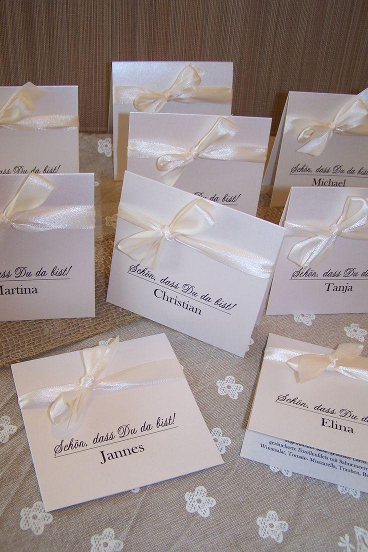 Namenskärtchen Hochzeit innen mit Menü  Wedding  Pinterest