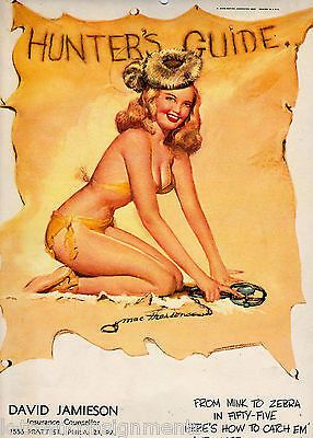 HUNTERS GUIDE PIN-UP GIRL VINTAGE 1950s CHEESECAKE GRAPHIC ART POSTER PRINT