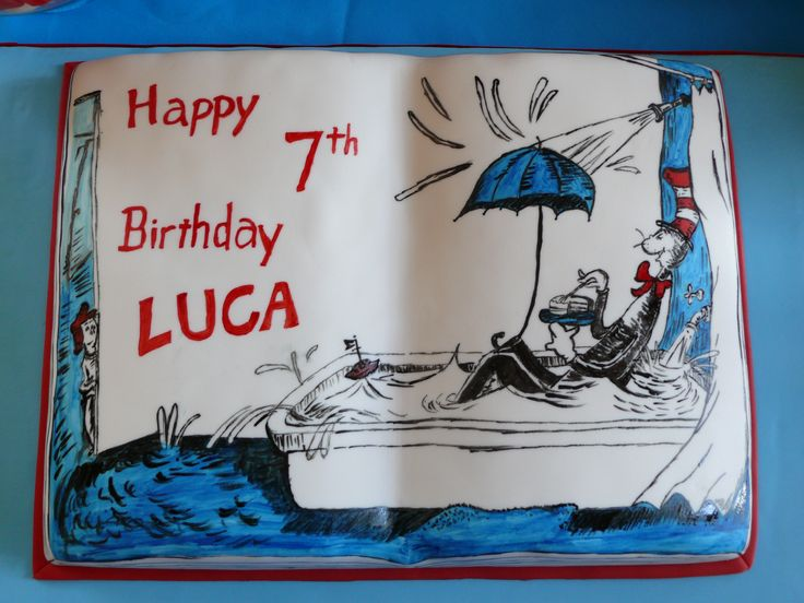 Dr Seuss Themed open book Cake with a hand painted illustration from The Cat in the Hat.
