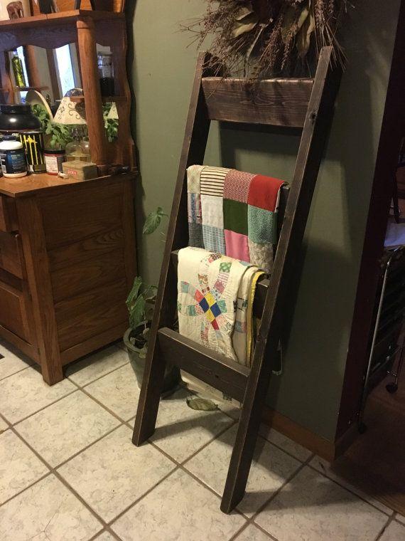 Wood Ladder Blanket Holder by NathanFoughtCrafts on Etsy