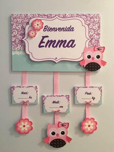 cartel bienvenida bebe puerta sanatorio niña nena nacimiento