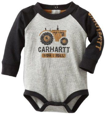 Amazon.com: Carhartt Baby-boys Infant Raglan Bodyshirt, Grey Heather, 9 Months: Baby